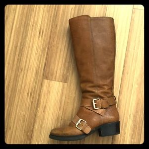 BCBG genuine leather brown knee boots